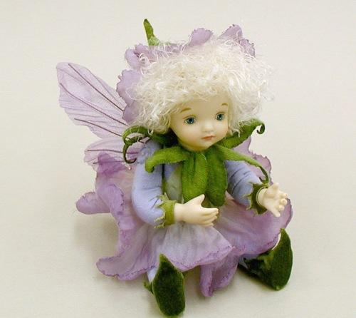 【送料無料】若月まり子 お花の妖精人形♪リトルエルフィン:ペチュニア(パープル)【楽ギフ_のし】ビスクドール 御祝 贈答 創作人形 ギフト 結婚祝 出産祝 記念品