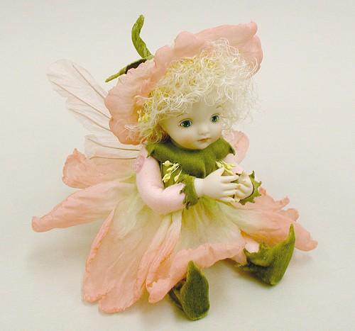 【送料無料】若月まり子 お花の妖精人形♪リトルエルフィン:カタローナ・ローズ(ピンク)【楽ギフ_のし】ビスクドール 御祝 贈答 創作人形 ギフト 結婚祝 出産祝 記念品