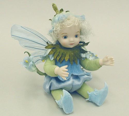 【送料無料】若月まり子 お花の妖精人形♪リトルエルフィン:カンパニュラ(ブルー)【楽ギフ_のし】ビスクドール 御祝 贈答 創作人形 ギフト 結婚祝 出産祝 記念品