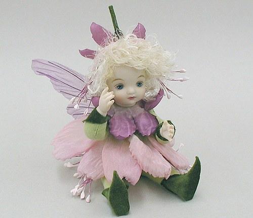 【送料無料】若月まり子 お花の妖精人形♪リトルエルフィン:フュッシャ(ピンク)【楽ギフ_のし】ビスクドール 御祝 贈答 創作人形 ギフト 結婚祝 出産祝 記念品