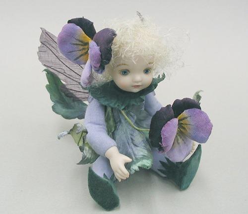 【送料無料】若月まり子 お花の妖精人形♪リトルエルフィン:パンジー(パープル)【楽ギフ_のし】ビスクドール 御祝 贈答 創作人形 ギフト 結婚祝 出産祝 記念品