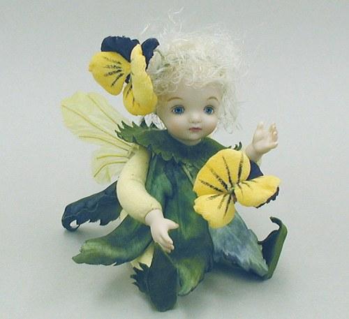 【送料無料】若月まり子 お花の妖精人形♪リトルエルフィン:パンジー(イエロー)【楽ギフ_のし】ビスクドール 御祝 贈答 創作人形 ギフト 結婚祝 出産祝 記念品