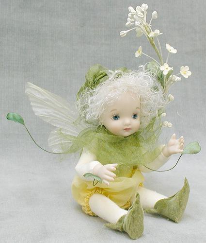 【送料無料】若月まり子 お花の妖精人形♪リトルエルフィン:ぺんぺん草【楽ギフ_のし】ビスクドール 御祝 贈答 創作人形 ギフト 結婚祝 出産祝 記念品