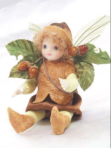【送料無料】若月まり子 お花の妖精人形♪リトルエルフィン:どんぐり【楽ギフ_のし】ビスクドール 御祝 贈答 創作人形 ギフト 結婚祝 出産祝 記念品