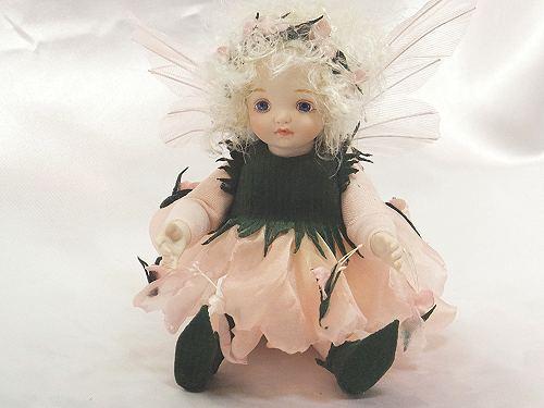 【送料無料】若月まり子 お花の妖精人形♪リトルエルフィン:ローズマリー(ライト・ピンク)【楽ギフ_のし】ビスクドール 御祝 贈答 創作人形 ギフト 結婚祝 出産祝 記念品