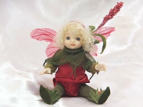 【送料無料】若月まり子 お花の妖精人形♪リトルエルフィン:あかまんま【楽ギフ_のし】ビスクドール 御祝 贈答 創作人形 ギフト 結婚祝 出産祝 記念品