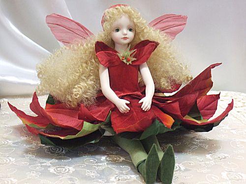 【送料無料】若月まり子 お花の妖精人形♪エルフィンフローリー:ポインセチア【楽ギフ_のし】ビスクドール 御祝 贈答 創作人形 ギフト 結婚祝 出産祝 記念品