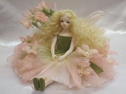【送料無料】若月まり子 エルフィンフローリー:マロウ(ピンク)【楽ギフ_のし】ビスクドール 御祝 贈答 創作人形 ギフト 結婚祝 出産祝 記念品