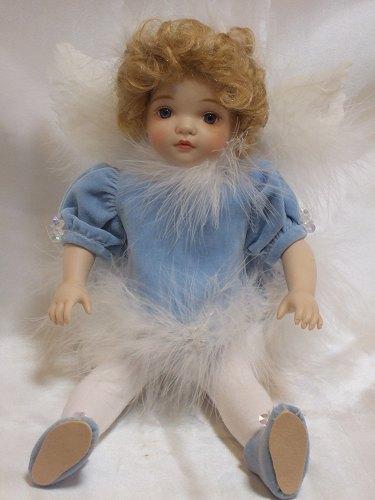 【送料無料】若月まり子 ビスクドール「ベビーエンジェル:ブルー」【楽ギフ_のし】ビスクドール 御祝 贈答 創作人形 ギフト 結婚祝 出産祝 記念品