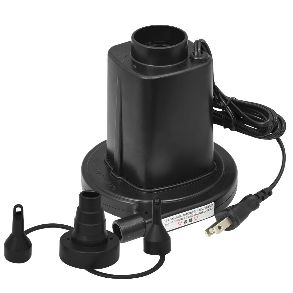 家庭用コンセントで使える パワフルAC電源式エアーポンプ PSE認証取得済 国内在庫 浮き輪やビニールプール エアーベッド等の空気入れに エアーポンプ 電動ポンプ ファミリープール 浮き輪 1年保証 電動エアーポンプ 電動 ポンプ 空気入れ AC電源 100V 簡単 吸気 エアーベッドなどに フロート FIELDOOR 卓出 レジャー アウトドア 家庭用コンセントタイプ 給排気 便利 排気 専用ノズル3種付き ビニールプール PSE取得 送料無料