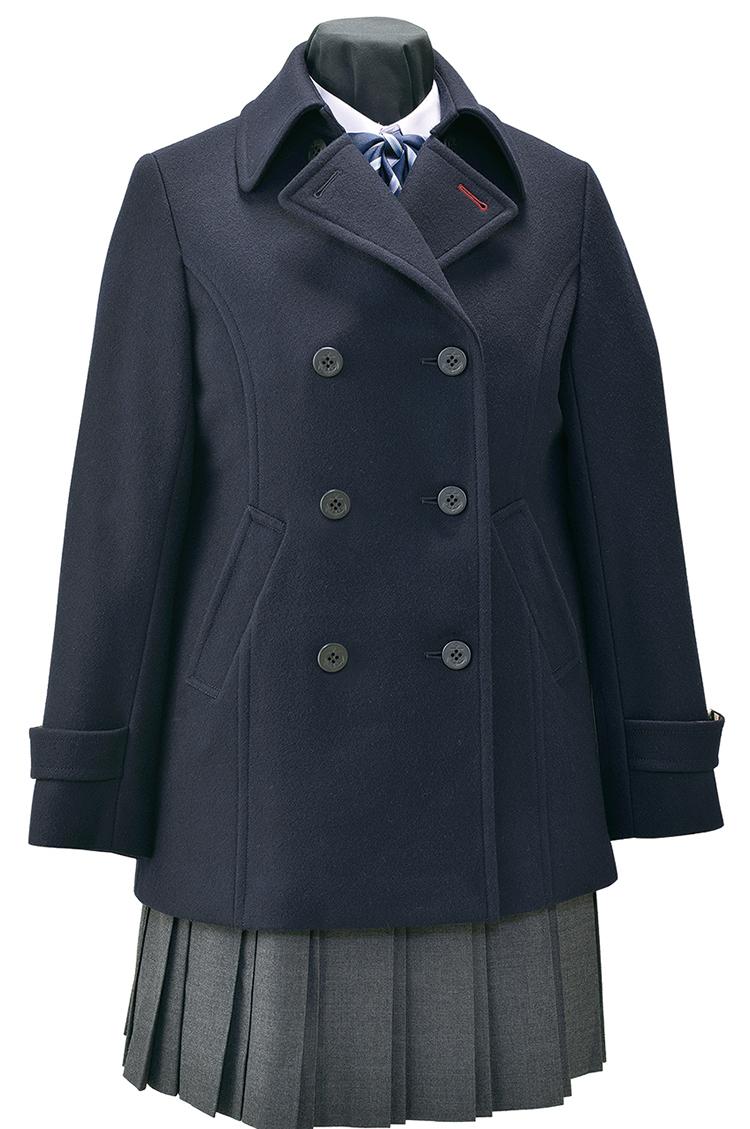 【取り寄せ商品】ウール90%暖か日本製生地 メルトン仕上げ スリムタイプピーコート 女子用