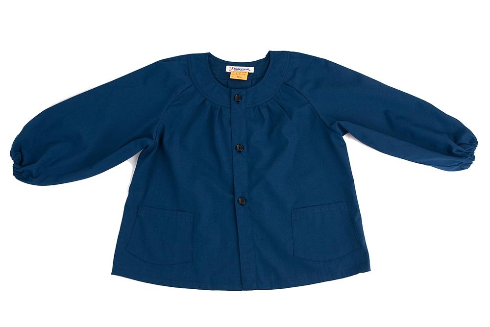 襟なし紺色無地スモック 150cm 日本製【あす楽】