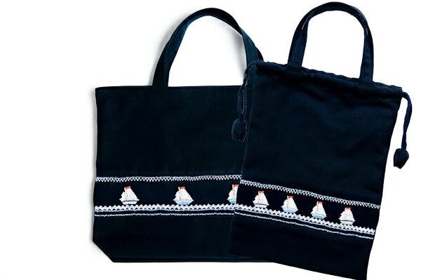 【手刺繍スモッキング】【ヨット柄】紺色布製:レッスンバッグ&巾着バッグセット 日本製【あす楽】