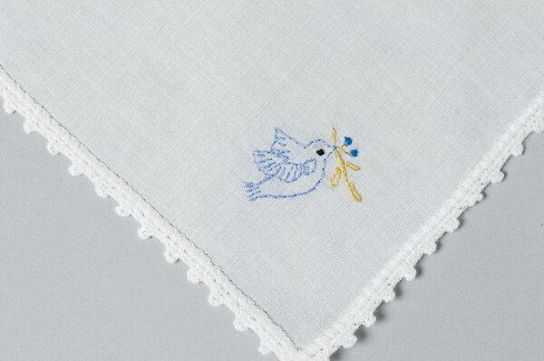 ハンドメイドのお受験ハンカチ 通園通学にも人気です 限定特価 女の子用 ピコレース綿ハンカチ あす楽 青い鳥 手刺繍 まとめ買い特価