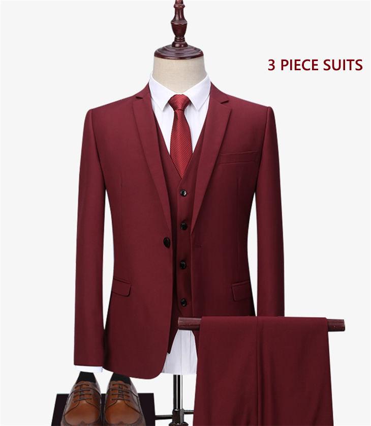 スリーピース スーツ 洗える メンズスーツ ビジネス スリムスーツ タキシード 紳士服 細身 高級品 フォーマル 冠婚葬祭 無地 赤 就職活動 3点セット キャリア 入社 一つボタン オフィス 大きいサイズ 通勤 評価