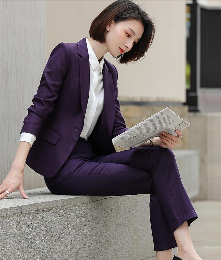 オフィス定番 セットアップ レディーススーツ 上品 優雅 フォマール エレガント 長袖 OL女性 事務服 入社 オフィス ビジネス セレモニー 通勤就活面接 お呼ばれ 結婚式 二次会 20代30代40代 きれいめ サイズ有S~4XL ジャケット+パンツ/スカートの2点セット 紫 パープル