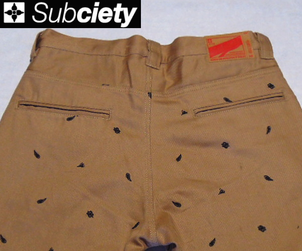 SubcietyサブサエティWORK PANTS -CLASSIC- FULL EMBROIDERYBEIGE