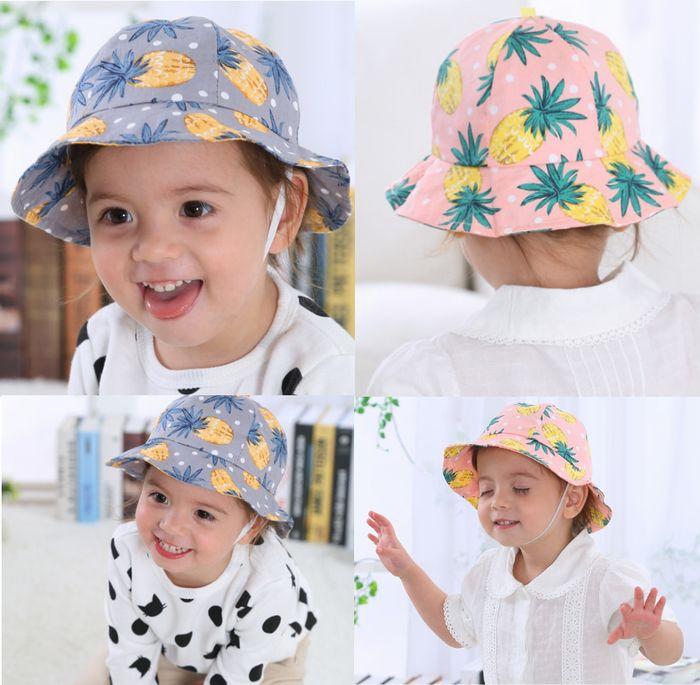 評判 可愛いパイナップル柄ベビー帽 ゴムひも付き ネコポス便 送料無料 ベビー帽子 赤ちゃん 帽子 日除け パイナップル柄 商品追加値下げ在庫復活 ベビー帽 UVカット 子供 日差し