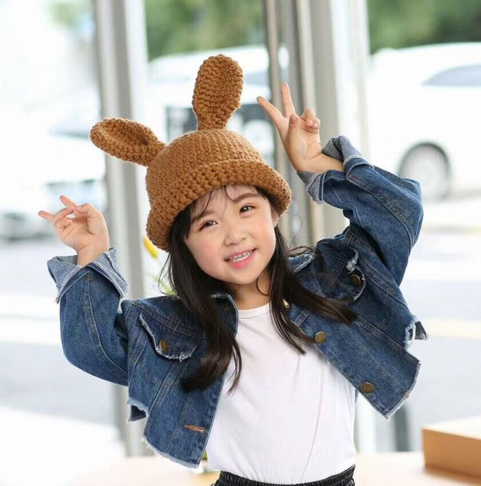 f1813bfc0c8 ☆Child kids bonbon butterfly butterfly pearl knit child knit hat ぼうし of the  hat child knit hat attendant woman for winter accessory child knit hat ☆ ...