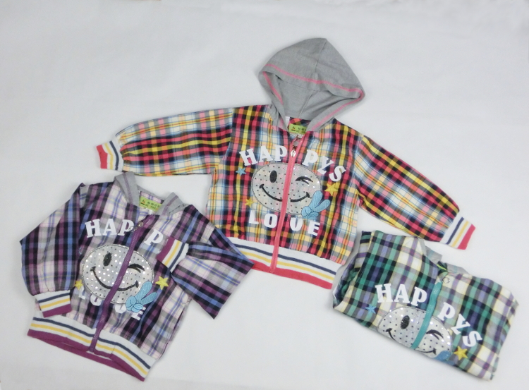 Boy kids child thin parka check with the spring and summer outer food
