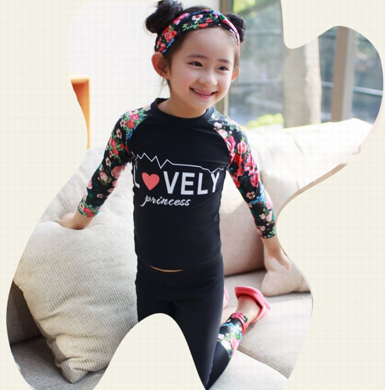 5e0cee6489 ☆Top and bottom set swimsuit ☆ rush of cut long sleeves, pants guards  summer strong ultraviolet rays☆ ※There is not the headband
