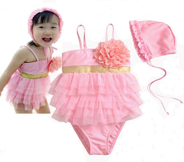 3c904eb5cd62f ... ☆ large flower brooch   6-shoffll-bottoms   Swim Cap! super cute  one-piece swimsuit 3 point set ☆ kids baby swimwear children swimsuit  children s ...