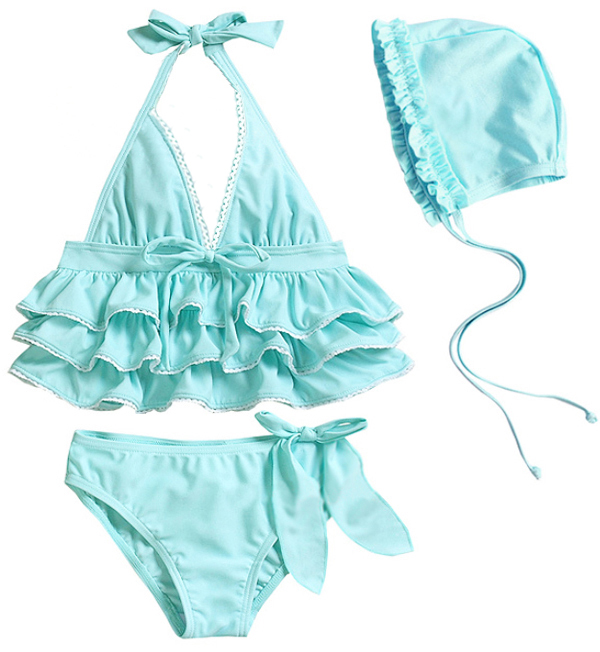 a44505d269db6 Triple ruffle tops   Ribbon with bottoms   frilly Swim Cap! super cute  swimsuit 3 point set ☆ kids baby swimwear children swimsuit children s  swimsuit for ...