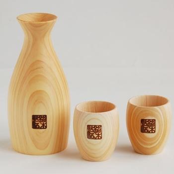 Japanese Hinoki Sake Cup Round Design Guinomi set of 2