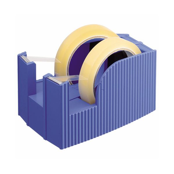 スリットが新鮮なデザイン・テープカッター。使い分けに便利な2連式もラインナップ。 【マラソンでポイント最大43.5倍】(まとめ) ライオン事務器 テープカッター(フリス)2連 太巻用 112×171×92mm ブルー TC-30 1台 【×5セット】