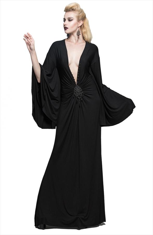 【Devil Fashion】バックリと開いたフロントでセクシーに魅せるロングドレス ブラック ゴシックパンク レディース Mサイズ SKT040M【SSMay15_point20】【20P30May15】