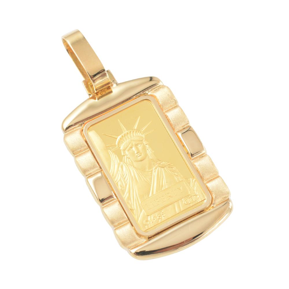 純金 K24 インゴット 10g ペンダントトップ リバティ 自由の女神 デザイン枠 新品 送料無料 メンズ レディース プレゼント ギフト 贈り物 誕生日 人気 おしゃれ かわいい かっこいい アクセサリー 首飾り ネックレス ヘッド チャーム