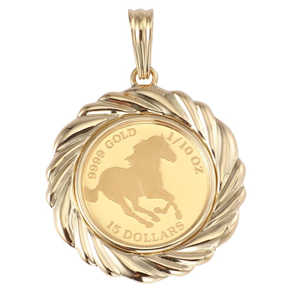 純金 K24 ツバル ホース 馬 エリザベス 1/10oz メンズ レディース コイン ペンダントトップ デザイン枠【新品】