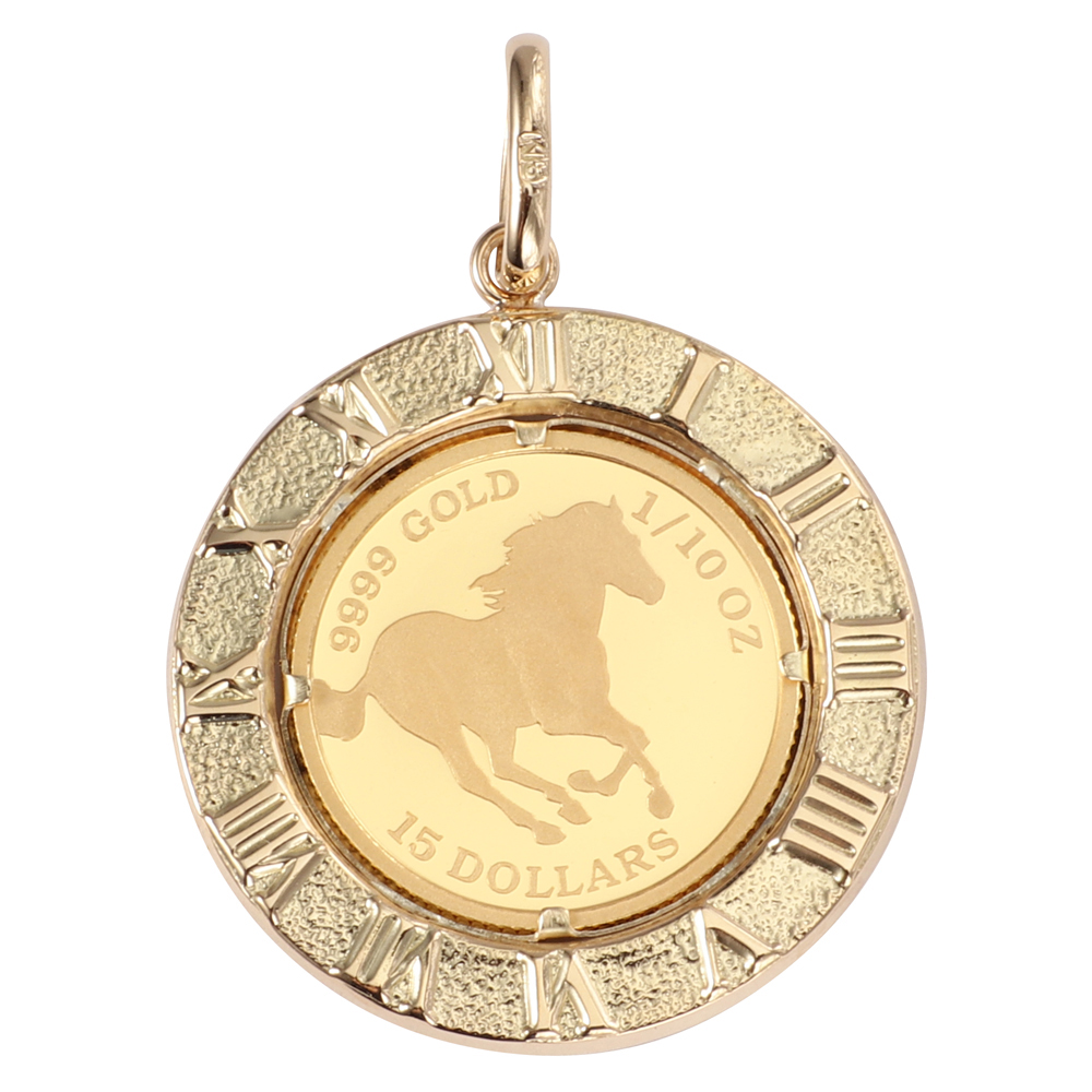 純金 K24 ホース 馬 1/10oz 金貨 コイン ペンダントトップ アラベスク 時計文字 ゴールド デザイン枠 新品 送料無料 メンズ レディース プレゼント ギフト 贈り物 誕生日 人気 おしゃれ かわいい かっこいい アクセサリー 首飾り ネックレス ヘッド チャーム