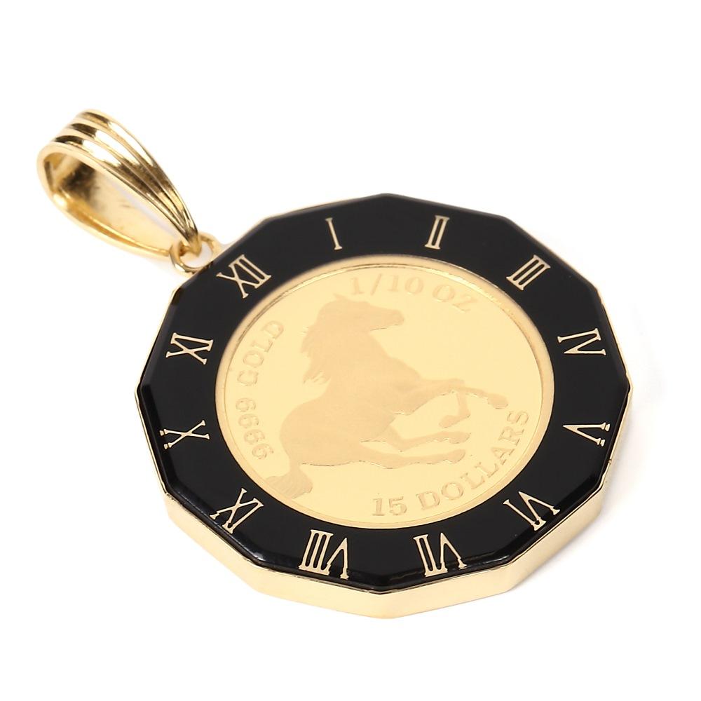 純金 K24 ツバル ホース エリザベス 1/10oz メンズ レディーズ コイン ペンダントトップ 時計文字 ブラック デザイン枠