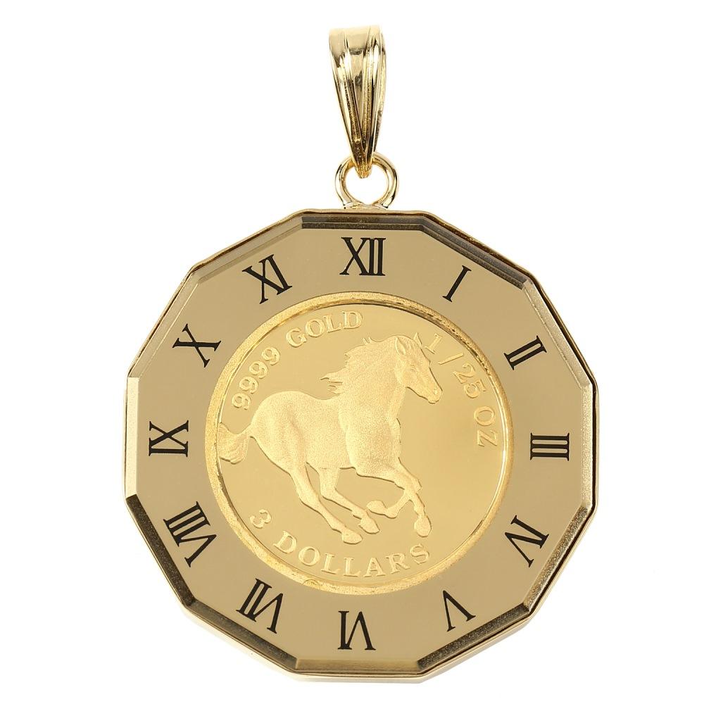 純金 K24 ペンダントトップ ツバル ホース エリザベス 1/25oz メンズ レディース コイン 時計文字 ゴールド デザイン枠