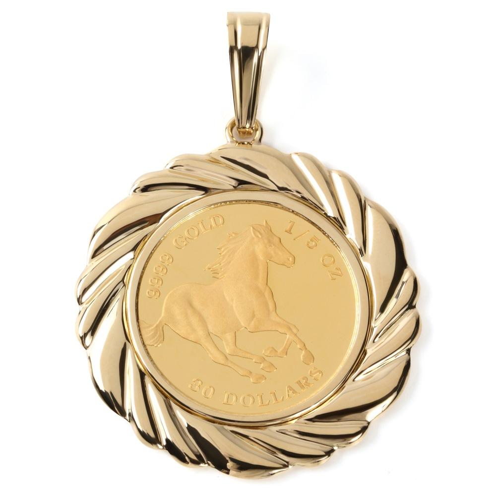 純金 K24 ホース 馬 1/5oz 金貨 コイン ペンダントトップ K18 デザイン枠 新品 送料無料 メンズ レディース プレゼント ギフト 贈り物 誕生日 人気 おしゃれ かわいい かっこいい アクセサリー 首飾り ネックレス ヘッド チャーム