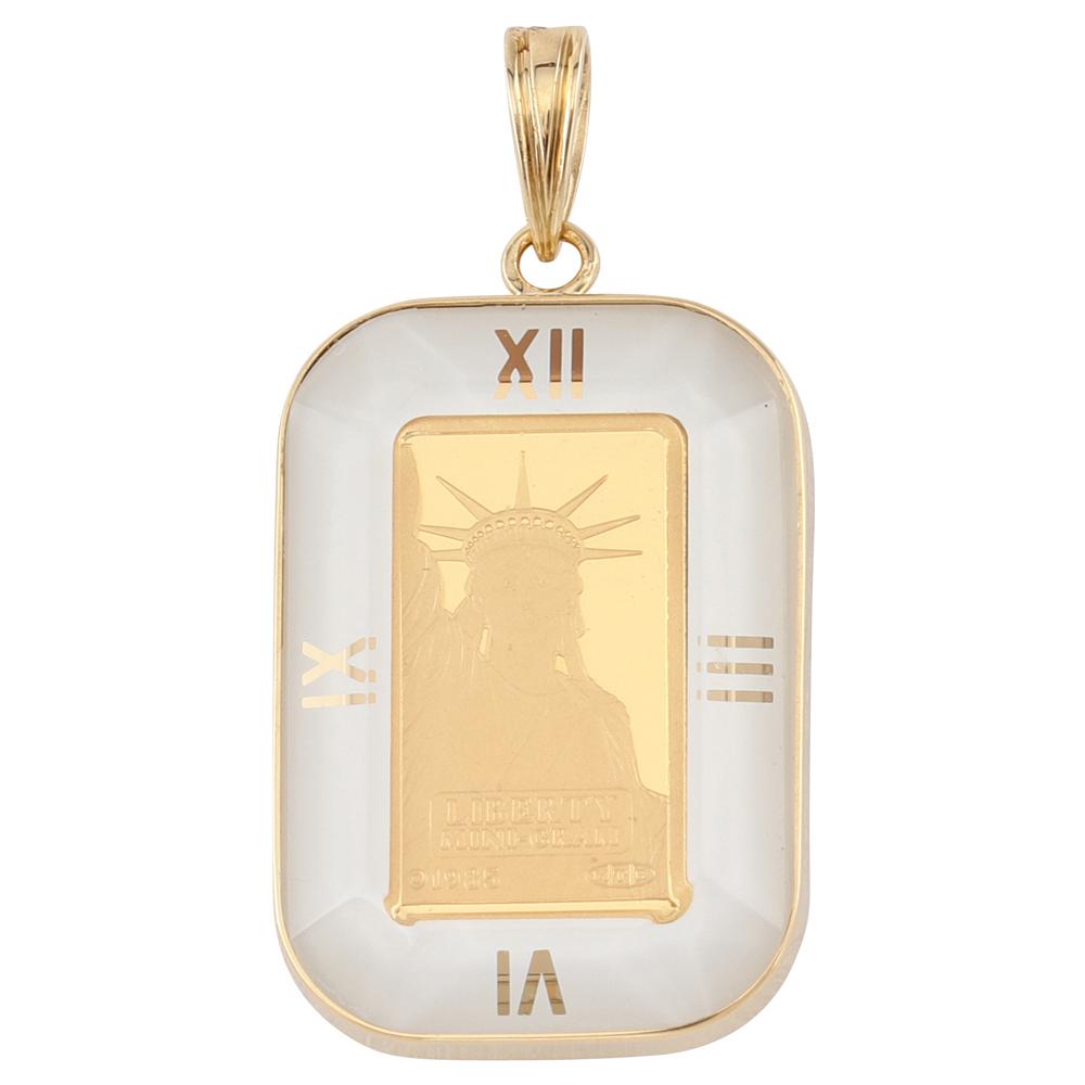 純金 K24 インゴット 1g ペンダントトップ リバティ 自由の女神 アラベスク 時計文字 ホワイト デザイン枠 新品 送料無料 メンズ レディース プレゼント ギフト 贈り物 誕生日 人気 おしゃれ かわいい かっこいい アクセサリー 首飾り ネックレス ヘッド チャーム