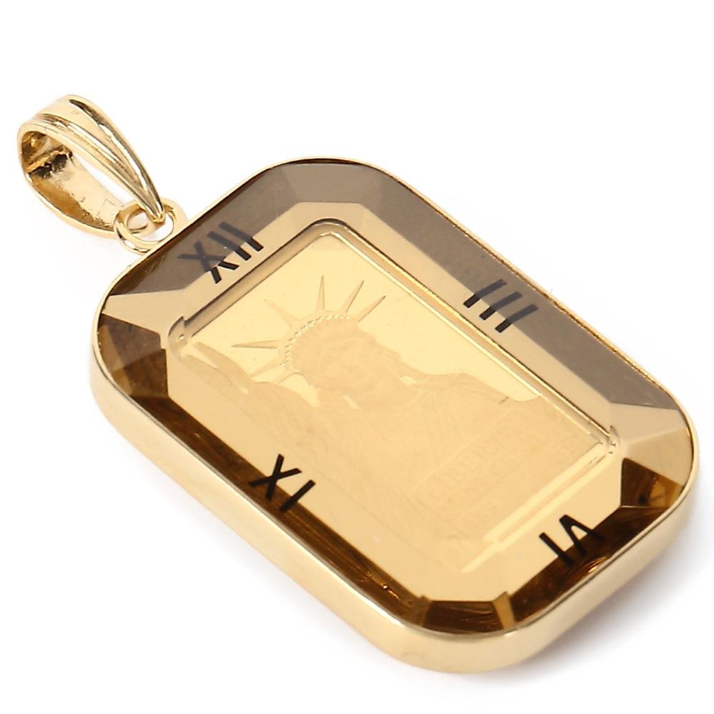 純金 K24 リバティ 1g インゴット レディース メンズ ペンダントトップ クレジットスイス 自由の女神 時計文字 ゴールド デザイン枠