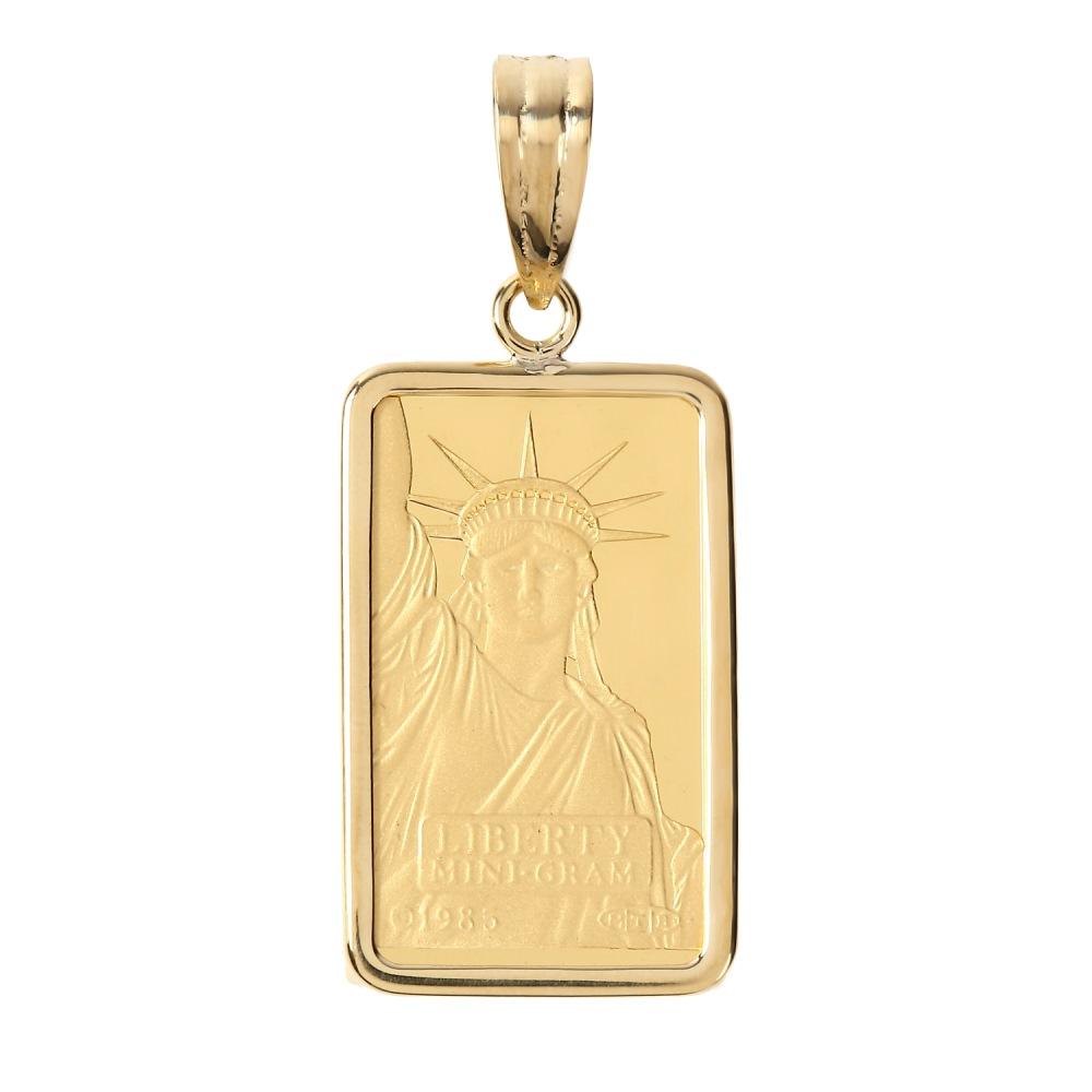 純金 K24 リバティ 2g インゴット レディース メンズ ペンダントトップ クレジット スイス 自由の女神 シンプル枠