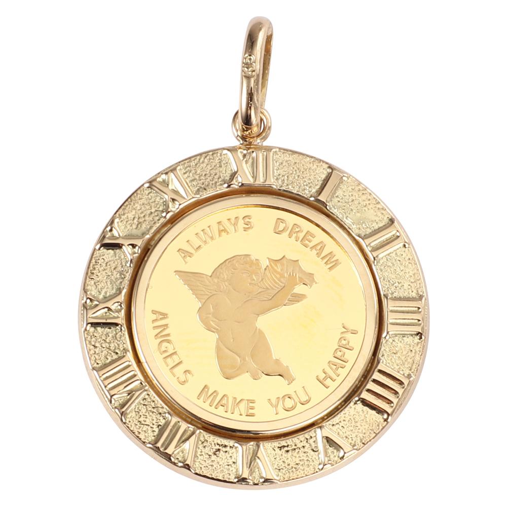 純金 K24 エンジェル 2.5g 金貨 ペンダントトップ コイン アラベスク 時計文字 ゴールド デザイン枠 新品 送料無料 メンズ レディース プレゼント ギフト 贈り物 誕生日 人気 おしゃれ かわいい かっこいい アクセサリー 首飾り ネックレス ヘッド チャーム