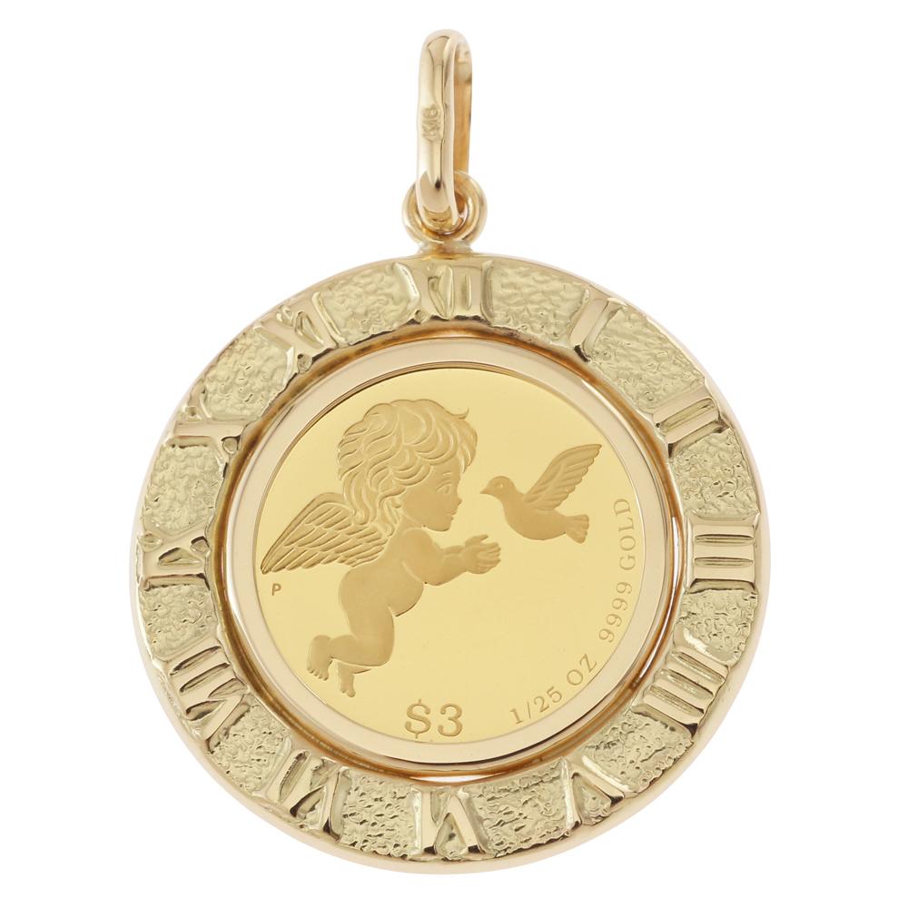 純金 K24 エンジェル 1/25oz 金貨 コイン ペンダントトップ アラベスク ゴールド 時計文字 デザイン枠 新品 送料無料 メンズ レディース プレゼント ギフト 贈り物 誕生日 人気 おしゃれ かわいい かっこいい アクセサリー 首飾り ネックレス ヘッド チャーム