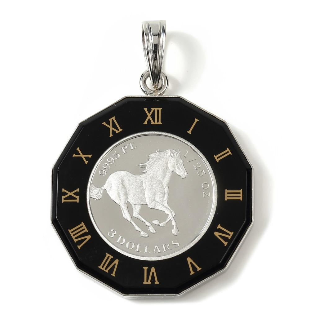 純プラチナ ペンダントトップ 1/25oz ツバル ホース コイン エリザベス レディース メンズ 時計文字 ブラック色 デザイン枠 送料無料