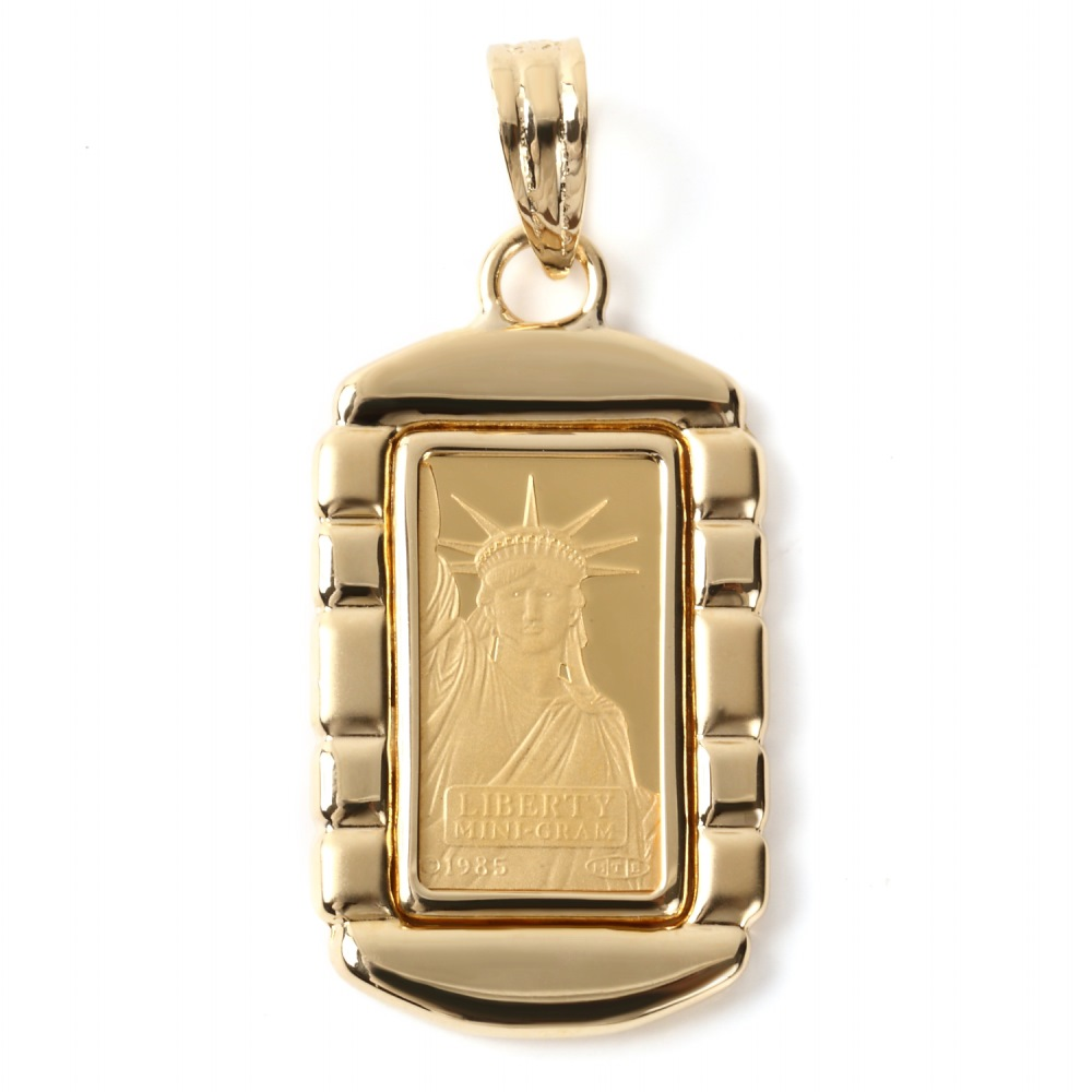 純金 K24 インゴット 1g ペンダントトップ リバティ 自由の女神 デザイン枠 新品 送料無料 メンズ レディース プレゼント ギフト 贈り物 誕生日 人気 おしゃれ かわいい かっこいい アクセサリー 首飾り ネックレス ヘッド チャーム