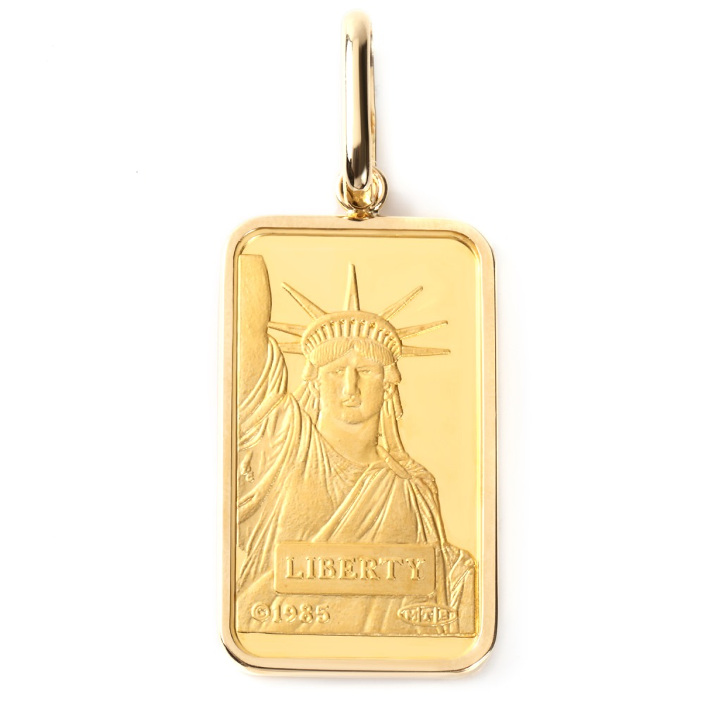 純金 K24 リバティ 20g インゴット メンズ レディース ペンダントトップ クレジット スイス 自由の女神 シンプル枠