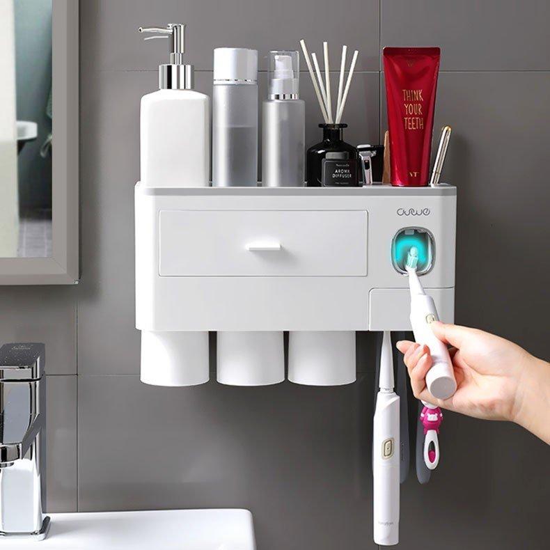 ふるさと割 歯ブラシスタンド ホルダー 壁掛け 上等 粘着式 歯磨きコップ 洗面台収納 自動歯磨き粉チューブ バスルーム収納 一台多役 歯ブラシホルダー 歯磨き粉ホルダー
