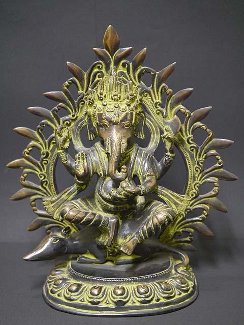 インドの神様ガネーシャの置物 真鍮製の大きなガネーシャです!(No.14)もちろん重量もヘビー級!/エスニック/アジアン雑貨