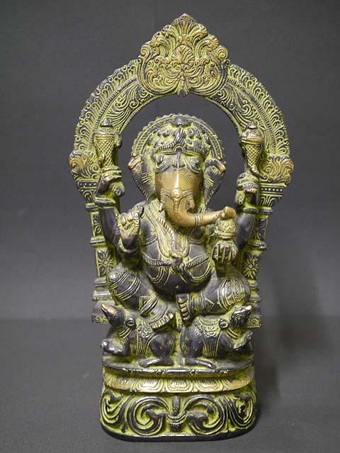 インドの神様ガネーシャの置物 真鍮製の大きなガネーシャです!(No.27)もちろん重量もヘビー級!/エスニック/アジアン雑貨