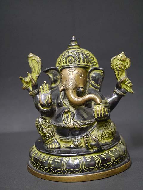 インドの神様ガネーシャの置物 真鍮製の大きなガネーシャです!(No.30)もちろん重量もヘビー級!/エスニック/アジアン雑貨