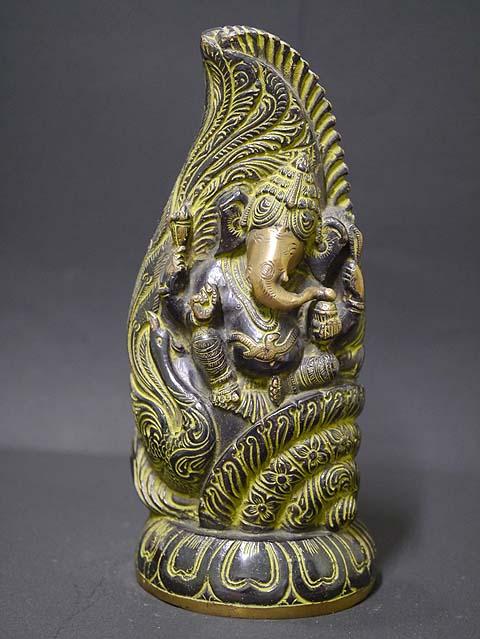 インドの神様ガネーシャの置物 真鍮製の大きなガネーシャです!(No.2)もちろん重量もヘビー級!/エスニック/アジアン雑貨