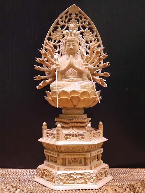 中国木彫仏像 千手観音座像 1点物/エスニック/アジアン雑貨(宅配便送料無料)